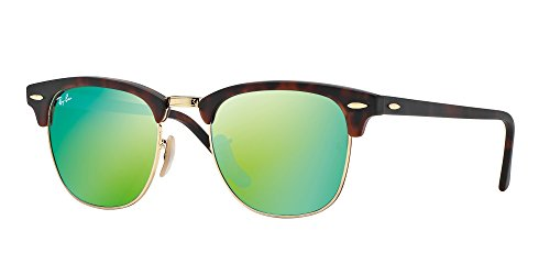 - Ray Ban RB3016 CLUBMASTER 114519 51M Sand Havana/Gold/Grey Mirror Green Sunglasses For Men For Women