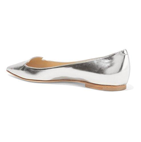 Donna Argento Classic Flats Ballerine Donna Scarpe da Ballerine ELASHE H7nxwOzUqO