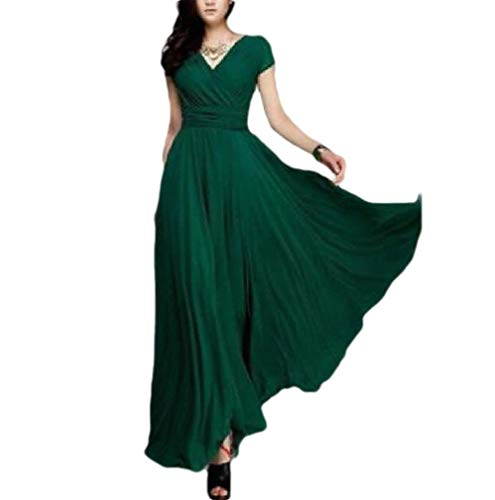 SportsX Womens Smocked Waist Sexy V Neck Chiffon Short Sleeves Cocktail Dress Green L -