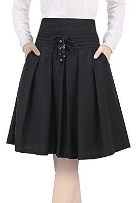 Choyatou Women's Drawstring Waist Thin/Thick A-Line Pleated Midi Skater Skirt