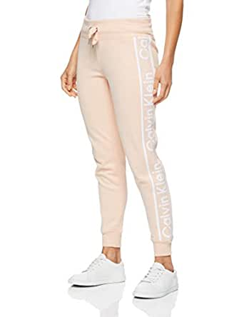 Calvin Klein Women's Jogger with Rib Cuffs and Logo Tape, Nectar, XS