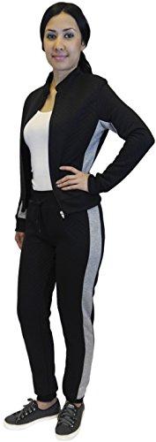 Burgundy Lines Full Zip Jacket (Junior Quilted Sweat Suit Full Zip Jacket Pants Tracksuit)