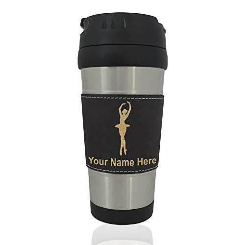 Travel Mug, Ballet Dancer Woman, Personalized Engraving Included (Black)