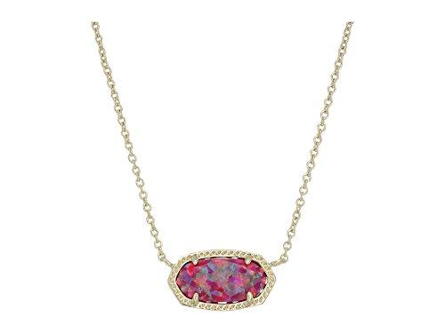 Kendra Scott Women's Elisa Necklace Gold/Deep Fuchsia Kyocera Opal Necklace