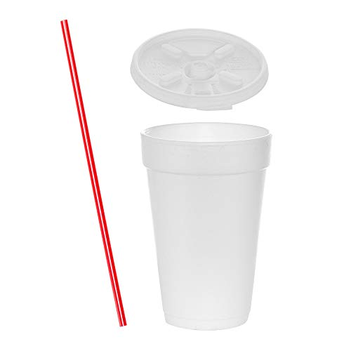 (100 Sets) 16 oz White Foam Cups with Lift'n'Lock Lids and BONUS Stirrers, Disposable Foam Drink Cups, To Go Coffee Cups, Insulated Foam Cups for Hot/Cold Drinks by Tezzorio