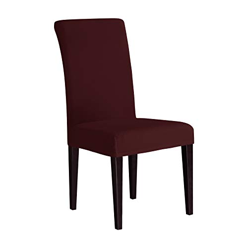 Colored Seat - Subrtex Dining Room Slipcovers Sets Stretch Removable Chair Furniture Protect Washable Elastic Seat Cover (6, Dark Red Knit)