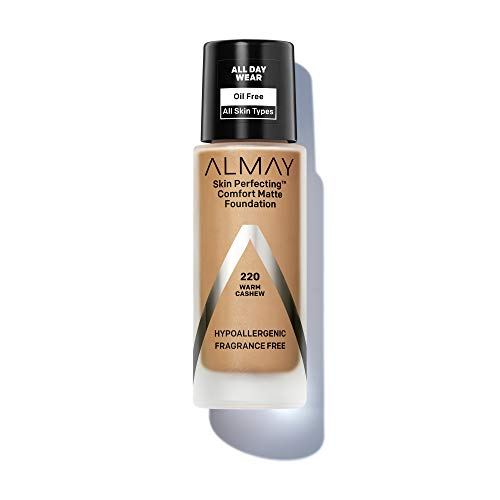 Almay Skin Perfecting Comfort Matte Foundation, Hypoallergenic, Cruelty Free, Fragrance Free, Dermatologist Tested Liquid Makeup, Warm Cashew, 1 Fluid Ounce (Color: WARM CASHEW, Tamaño: 1 Fluid Ounce)