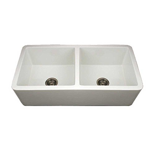 Whitehaus WH3719-WH Duet 36 3/4-Inch Reversible Fireclay Sink with Smooth Front Apron ()