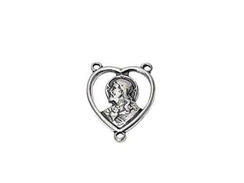 Christ Rosary Center Sterling Silver 21.5mm, Silver Religious Charm, 925 Sterling Silver Charms, Heart Christ Rosary Center Finding -SP701