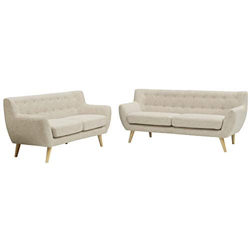 Modern Contemporary Urban Design Living Room Lounge Club Lobby Loveseat and Sofa Set, Fabric, Beige
