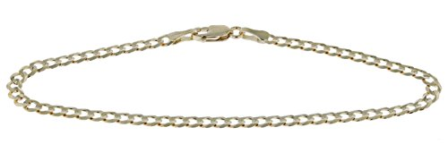 8 Inch 10k Yellow Gold Curb Cuban Chain Bracelet for Men and Women, 0.12 Inch (3.1mm) by Glad Gold