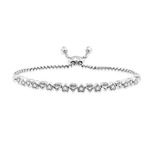(NATALIA DRAKE Sterling Silver 0.20cttw Heart Link Adjustable Sliding Bolo Bracelet)