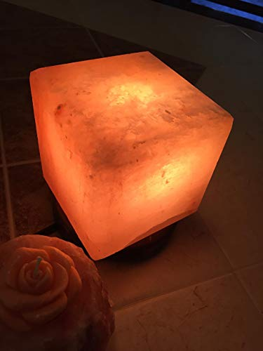 Hand-cut Pure Natural Organic Himalayan Salt Lamp Crafted Cube 5 x 5 x 5 Pink Salt