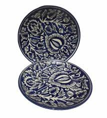 Stonish Handmade Stoneware Pottery with Mughal Pattern, 7 inch  Royal Blue   Set of 6