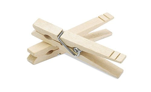 Natural Wooden Clothespins - Sturdy Clothespins for Shirts, Sheets, Pants, Decor and more - 30 Pack