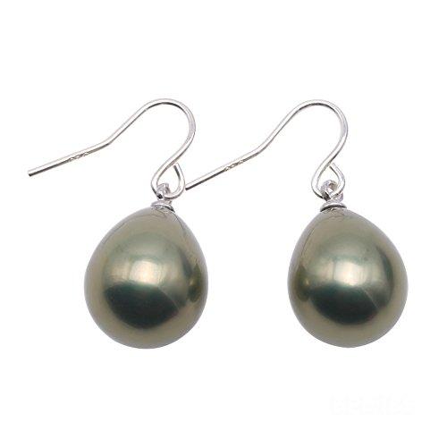 JYX Pearl Sterling Silver Dangle Earrings 12x16mm Teardrop Seashell Pearl Stud Earrings -