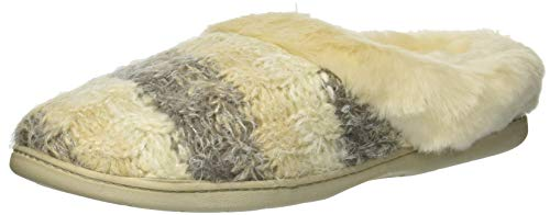 Picture of Dearfoams Women's Eyelash Cable Knit Clog Slipper, French Taupe, M Regular US