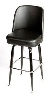 Oak Street Manufacturing SL2133-BLK Black Bucket Frame Barstool with Black Vinyl Bucket Seat, 18