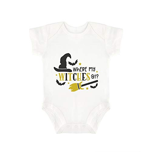(Promini Cute Baby Onesie Where My Witches at Baby Bodysuit Infant One Piece Baby Romper Best Gift for Baby White)