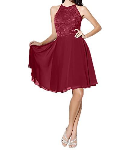 Brautmutterkleider Damen Weinrot Festlichkleider A Partykleider Einfach Charmant Abendkleider Chiffon Linie Knielang P4xzTffq