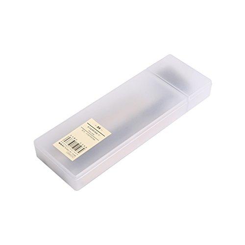 HaloVa Pencil Box Transparent Plastic Pencil Case Pen Box with Divided Storage Compartment, Non-Toxic Eco-Friendly Material, White, Large