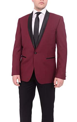 Mens Slim Fit Solid Indigo Blue One Button Tuxedo Suit with Satin Shawl Lapel (Shawl Black Tuxedo Satin Suit)
