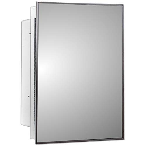 Mirrors and More Recessed Framed Mirror Bright Steel Medicine Cabinet | Fixed Shelf | Bathroom | Kitchen | 16