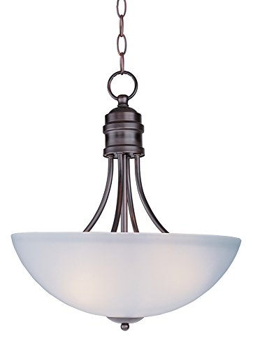 Maxim 10044FTOI Logan 3-Light Pendant, Oil Rubbed Bronze Finish, Frosted Glass, MB Incandescent Incandescent Bulb , 100W Max., Dry Safety Rating, Standard Dimmable, Glass Shade Material, 3450 Rated Lumens