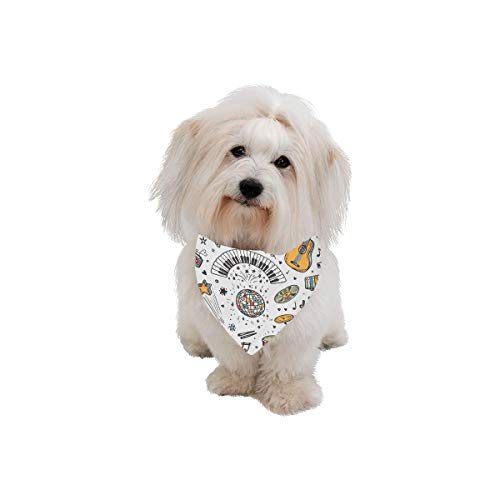- Easter Pet Dog Cat Bandana Musical Note Music Icon Mix And Match Design Vintage Hand Drawn Fashion Printing Bibs Triangle Head Scarfs Kerchief Accessories For Large Dog Cat Pet Birthdays Party Gifts