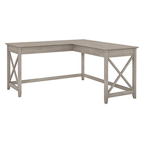 Bush Furniture Key West 60W L Shaped Desk in Washed Gray