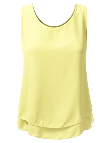Doublju Loose Fit Tank Top Double Layered Chiffon Blouse Tank Tops for Women with Plus Size (Made in USA)