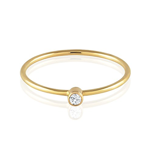 18k Gold Four - Tousi Diamond Ring - Solitaire Stackable Thin Rings for Women and Girls - Round Cut Genuine Diamonds on Tiny 14k or 18k Real Gold Band - Small Promise Jewelry - Size 4 to 10