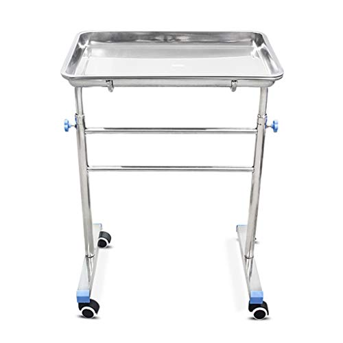 BETIME Mobile Mayo Tray Stand Stainless Steel Trolley Adjustable Height Medical Doctor Tattoo Spa Salon Equipment Personal Care Tattoo Parlor
