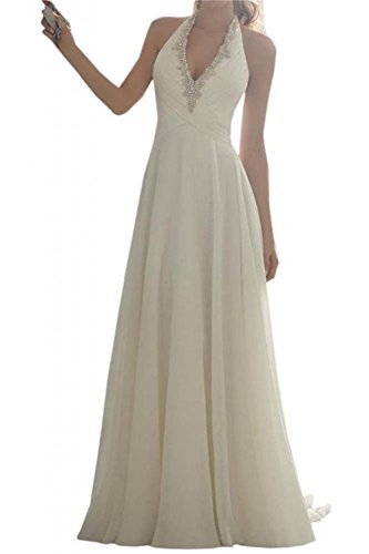 Wedding Gown Train Chiffon - Ever-youth Women's Halter Beaded Sweep Train Chiffon Wedding Dress for Bridal