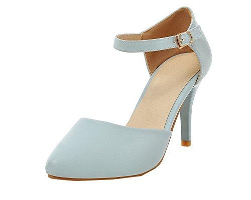 gmbla013096 Femme Cuir Sandales Stylet Fermeture Pu D'orteil Agoolar Boucle Bleu x48wqaSn8g
