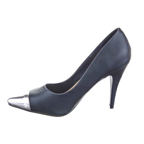 haut Sopily CM Noir aiguille Decolleté Talon femmes talon 10 Métallique Cheville Mode Escarpin Stiletto Chaussure 4qU4vS