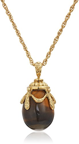 1928 Jewelry 14k Gold Dipped Semi Precious Gemstone Tiger's Eye Egg Pendant Necklace, 30