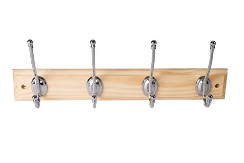 Bulk Hardware BH03314 Ball End Hat and Coat Hooks on Pine Rail with Bright Chrome Finish