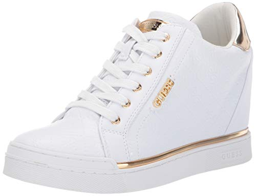 GUESS Women's FLOWURS Sneaker, White, 9 M US