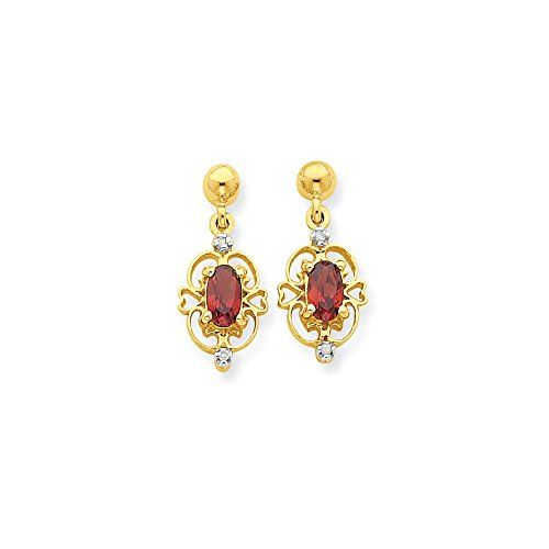 14k & Rhodium Marquise Garnet & Diamond Dangle Post Earrings, 14 kt Yellow Gold & Rhodium