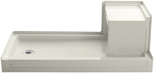 (Kohler K-1977-96 Tresham 60-Inch by 32-Inch Shower Receptor with Integral Seat and Left-Hand Drain, Biscuit)