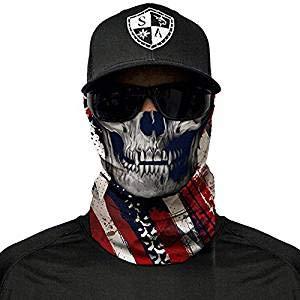 SA Fishing Company - Passamontagna in diversi modelli, per pesca, sci, motocicletta, paintball, utilizzabile come maschera di Halloween, USA Skull SA Company