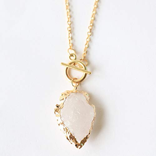 White quartz arrowhead toggle necklace in gold plated