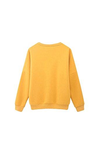 Yacun mujeres sueltas largo manga camiseta gráfica Yellow
