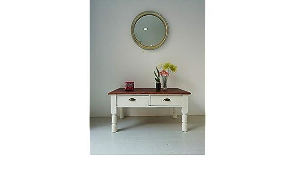 Mesa centro/mesa/mesa salón/mesita/blanco/madera: Amazon.es ...