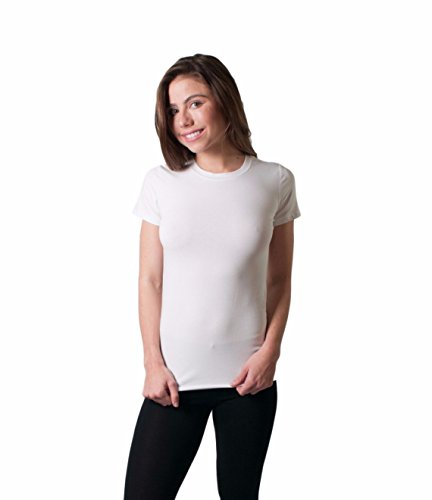 GCKNITWEAR Women's Fitted Crew Neck Short Sleeve (Fitted Crew Shirt)