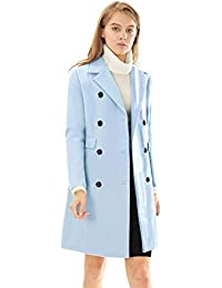 b69d445a630df Women s Long Jacket Notched Lapel Double Breasted Trench Coat
