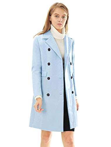 Allegra K Women's Long Jacket Notched Lapel Double Breasted Trench Coat L Blues