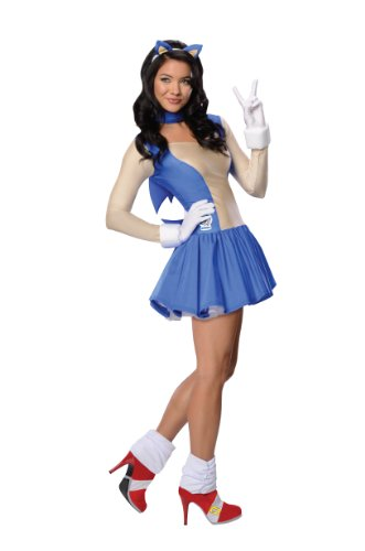 Sonic Adult Costumes (Secret Wishes  Costume Sonic The Hedgehog, Adult Dress and Accessories, Blue, Medium)
