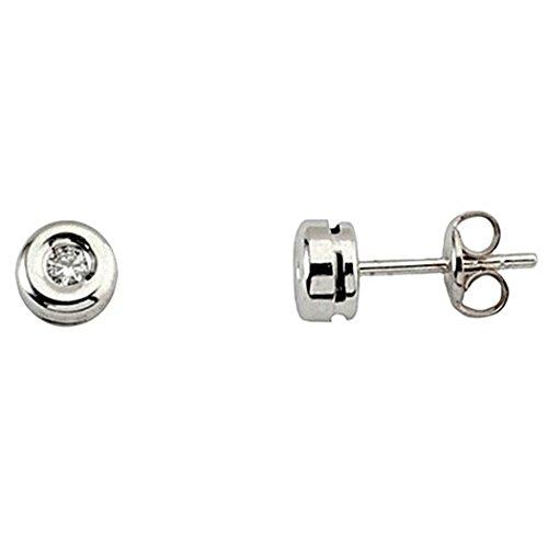 Boucled'oreille 0,06ct diamant brillant 18k lunette en or blanc [6003]
